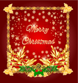 Merry Christmas happy red background vector image
