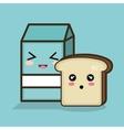 milk cartoon blue bread graphic vector image
