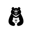 moon black bear mom sun cub kids parent hug logo vector image vector image