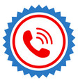 phone call stamp seal flat icon vector image