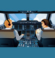 pilot and copilot inside the cockpit vector image vector image