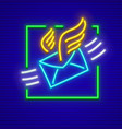 post icon neon envelope letter vector image vector image