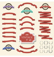 red vintage ribbon banners and labels set vector image vector image
