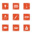 refund icons set grunge style vector image