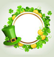 round banner and green hat vector image vector image