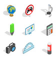 schooling icons set isometric style vector image vector image