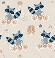 seamless childish pattern with cute raccoons vector image vector image