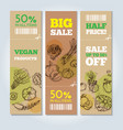 set of banners with vegetables vector image vector image