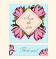 set of cards with magnolia floral motifs vector image vector image