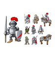 set of medieval knight characters standing in vector image