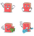 set of red book character with successful smirking vector image vector image