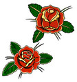 set roses in old school tattoo style design vector image vector image