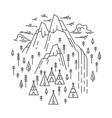 tepee camp in mountain vector image vector image