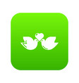 wedding doves heart icon green vector image