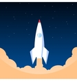 White rocket in flat style vector image