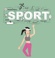 woman athlete with sport icons on green background vector image