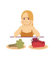 woman choosing between dessert and diet food flat vector image