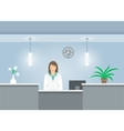 Woman receptionist in medical coat at reception vector image vector image