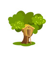 wooden tree house hut on green tree for kids vector image vector image