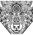 zentangle black contour wolf head vector image