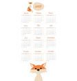 2019 cartoon style childish calendar fox and