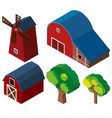 3d design for barns and windmill vector image