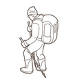 a man hiking on mountain cartoon graphic vector image vector image
