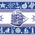 Banner with Nautical symbols and ship vector image vector image