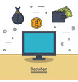 blockchain and bitcoin vector image