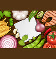 border template with many types of vegetables vector image