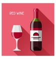 Bottle and glass of red wine in flat design style vector image vector image