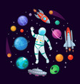 cartoon astronaut in space spaceman rocket stary vector image vector image