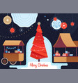 christmas market and holiday fair vector image