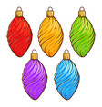 colorful christmas ball set decorations vector image