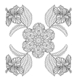 coloring page with exotic flowers entangle vector image