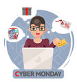 credit card laptop online shopping cyber monday vector image vector image