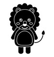 cute lion animal standing cartoon wildlife vector image
