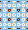 dark and withe chocolate donuts with blue vector image vector image
