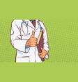 doctor holding thumb up closeup of medical male vector image