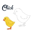 Educational game connect dots to draw chick bird vector image vector image