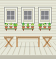 Empty Three Benches On Wood Wall And Ground With vector image