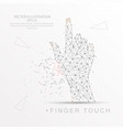 finger touch shape digitally drawn low poly wire vector image