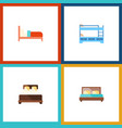 flat bed set of bunk bed mattress hostel and vector image vector image