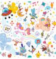 fun cartoon comic characters seamless pattern vector image vector image