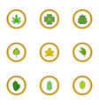 green leaf icons set cartoon style vector image vector image