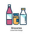 groceries lineal color icon vector image vector image