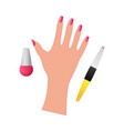 hand with nail polish on a white background vector image