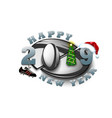 happy new year 2019 and rugby ball vector image