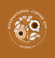 international coffee day card cookies croissant vector image
