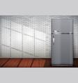 laundry room of brick wall and fridge freezer vector image vector image